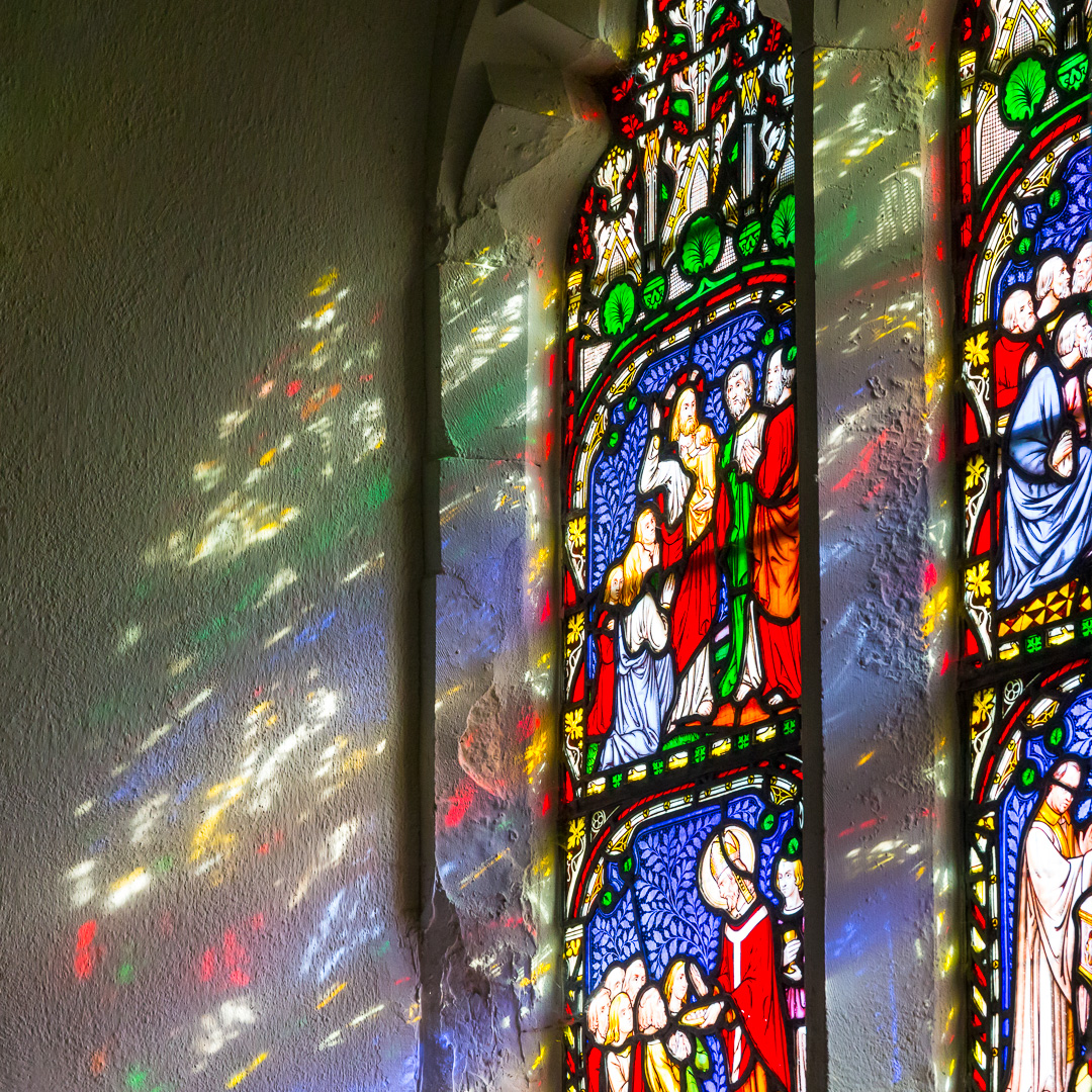 Stained glass, Church of St Mary, Sheviock, Cornwall.