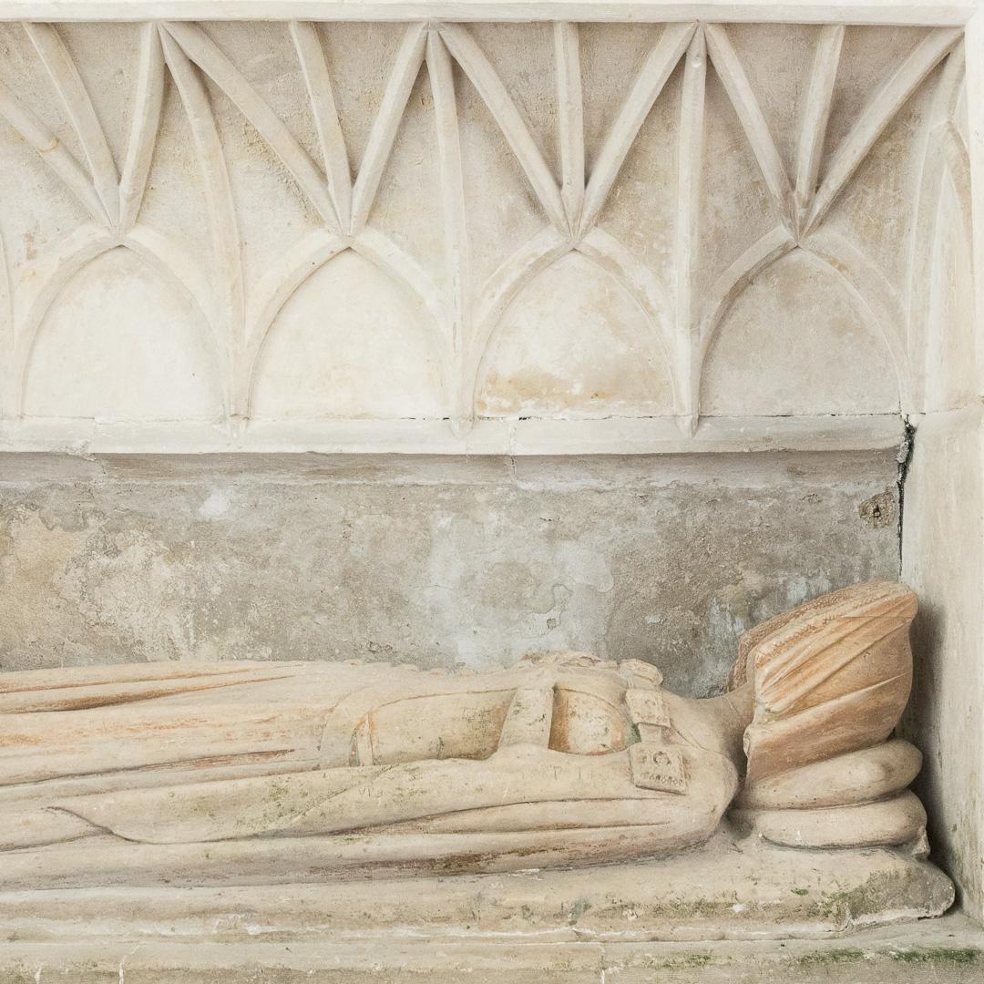Tomb-chest of Lady Emmeline Dawney c 1375, Church of St Mary, Sheviock, Cornwall.
