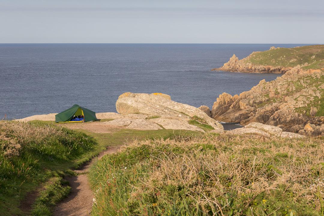 Camp at Pedn-men-an-mere, Cornwall.
