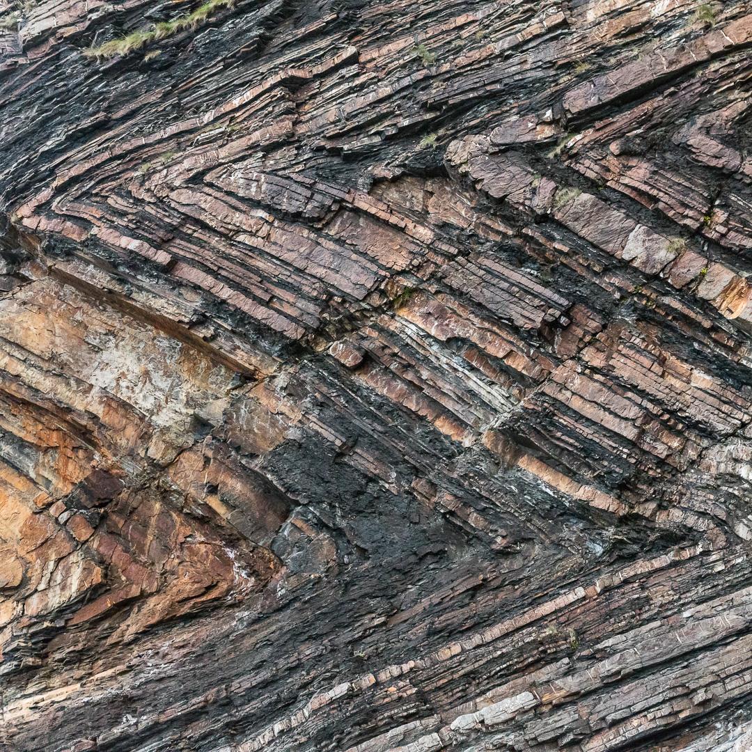 Chevron folds, Millook Haven, Cornwall.