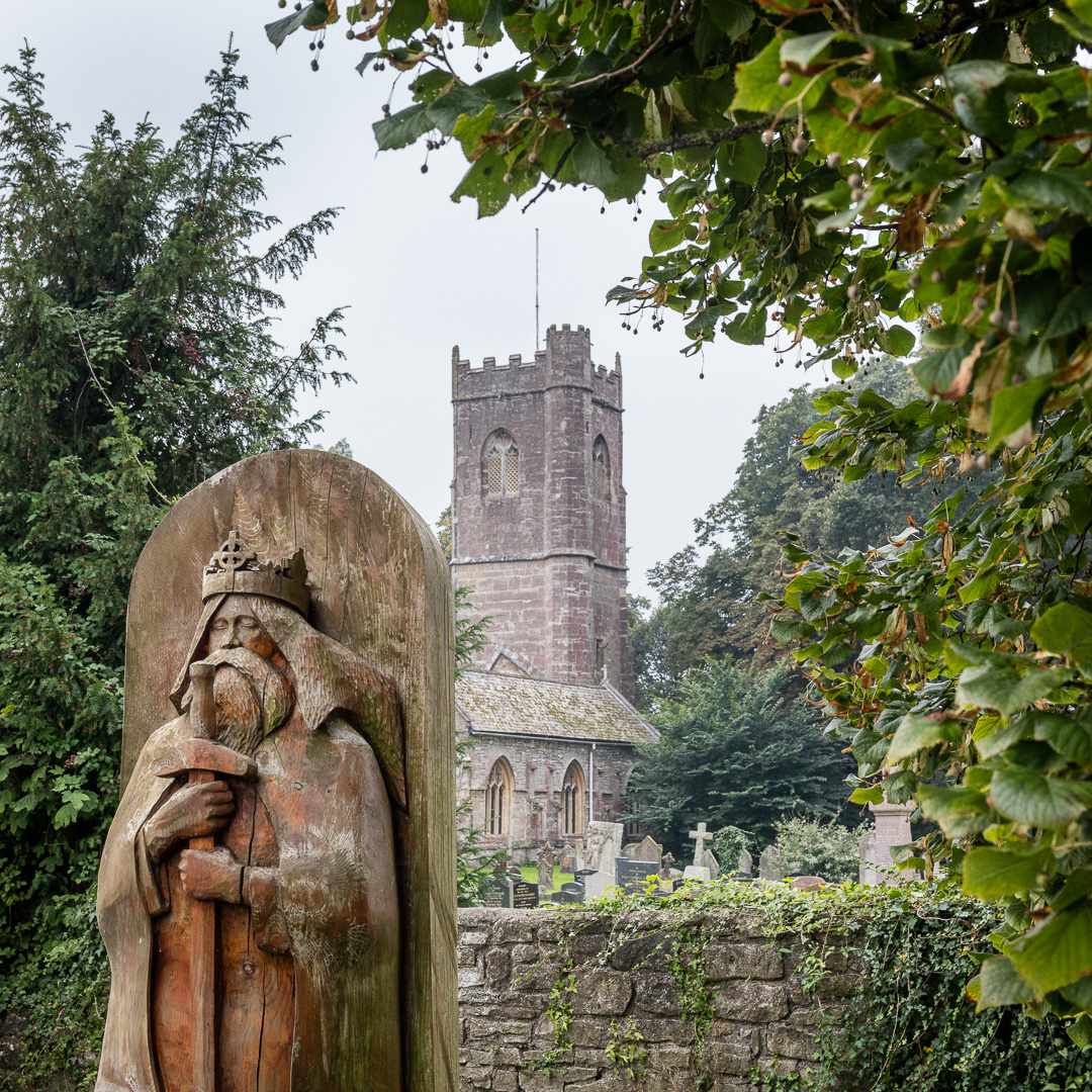 Sculpture of Welsh king and martyr St Tewdrig who died here in 630, St Tewdric's Church, Mathern, Gwent.