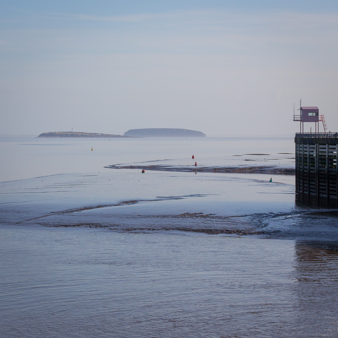 The Pink Hut, Cardiff Bay Barrage with Flat Holm & Steep Holm islands.