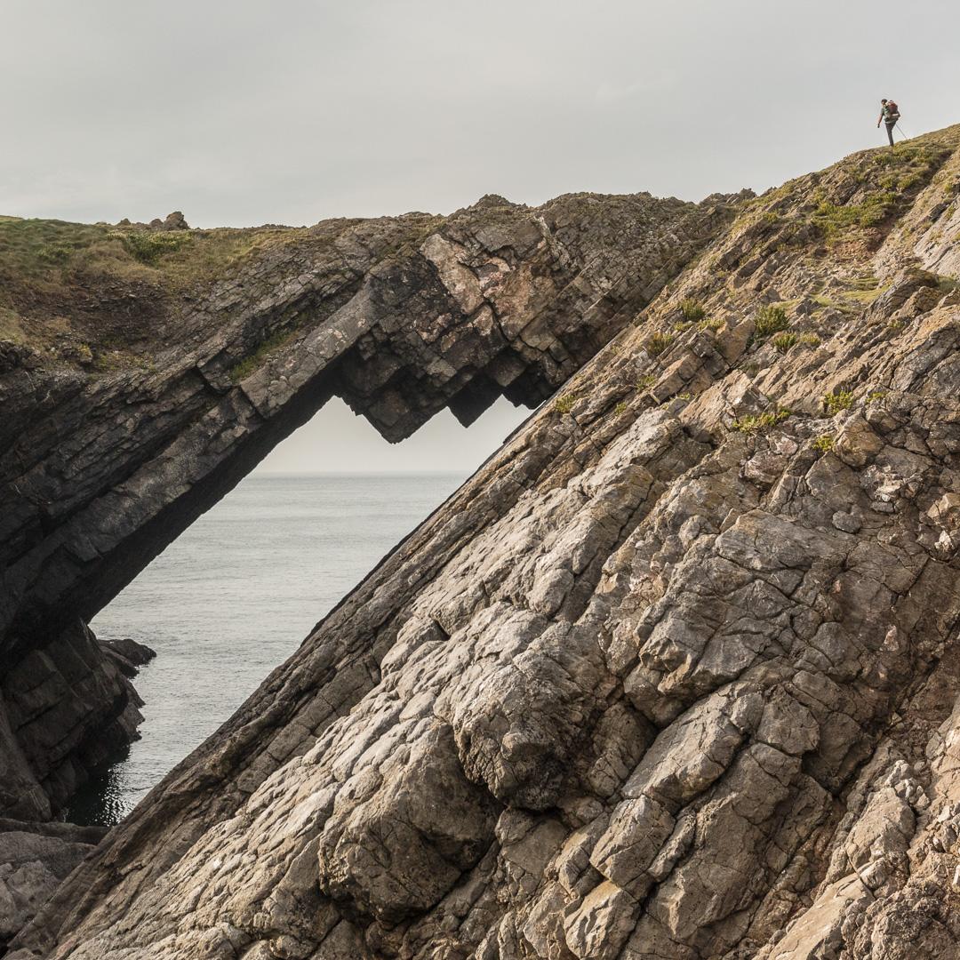 Selfie approaching Devil's Bridge, Worm's Head, Gower, Glamorgan.