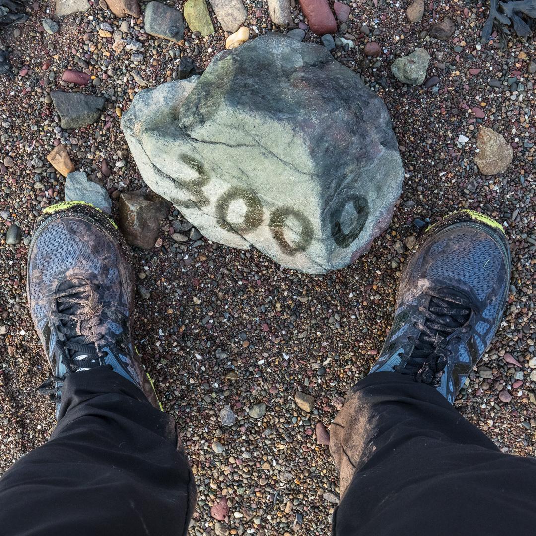 3,000km walked since St Paul's, London, Gann Beach, Pembrokeshire.