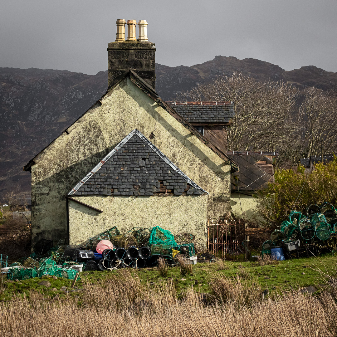 House with creels, Back of Keppoch, Lochaber, Scotland.