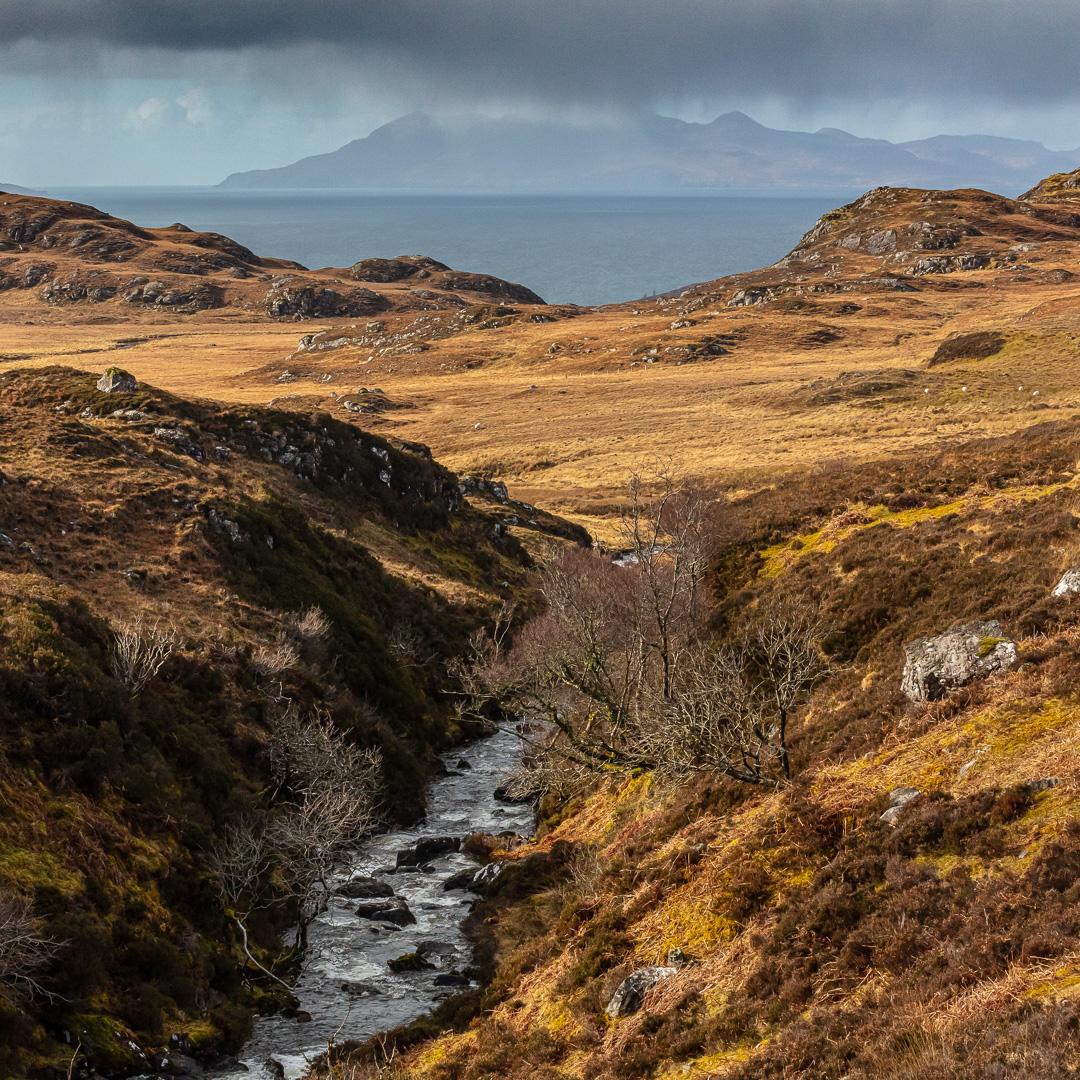 An Leth-allt above Mallaig leading to the Island of Rùm, Scotla