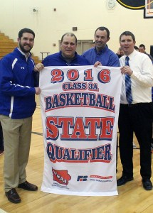 Perry coaches, from left, Adam Bloom, Jim Richmond, Jim Prombo and head coach Ned Menke pose with a banner that says it all.