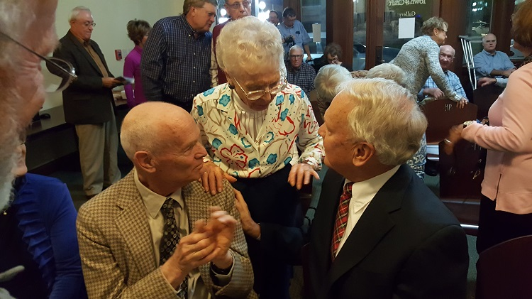 Eleanor Whiton of Perry, center, a longtime friend of the Charles I. Joy family, chatted with Joy's sons, Jim, left, and Bill at the unveiling of Joy's ...
