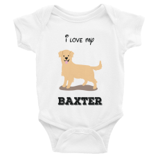 personalized baby onesie with illustration of dog and dog's name