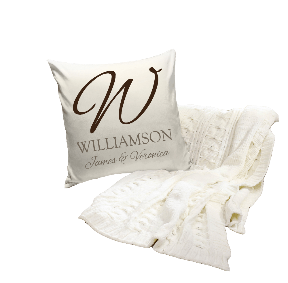 personalized pillow with couple's names and last name