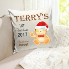 holiday personalized pillow with teddy bear and baby's name