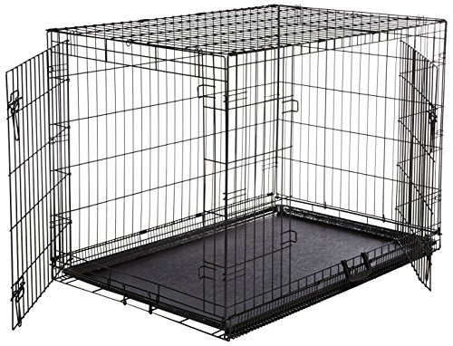 AmazonBasics Double Door Folding Metal Dog Crate Large