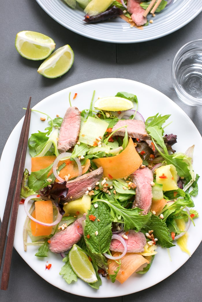 Bursting with flavors, this gluten-freeAsian Beef Salad is ready in just 15 min and loaded with protein-rich beef, healthyveggies and fresh herbs - The perfect balanced meal to enjoy on a busy day!