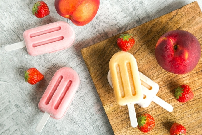 Healthy Nectarine and Strawberry Smoothie Popsicles are gluten-free and made with only 4 wholesome ingredients - the perfect refreshing summer treat. Recipe by The Petite Cook