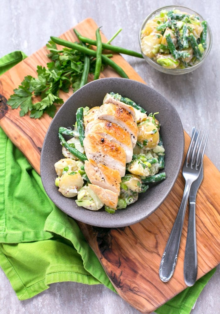 This Grilled Chicken with Green Bean Potato Salad is one of those perfect-for-every-season meal. Light, full-filling, and ready in less than 30 min, it's also mayo-free and gluten-free! Recipe by The Petite Cook