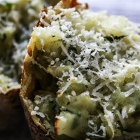Baked Potatoes With Basil And Parmesan [Nigel Slater project #15]