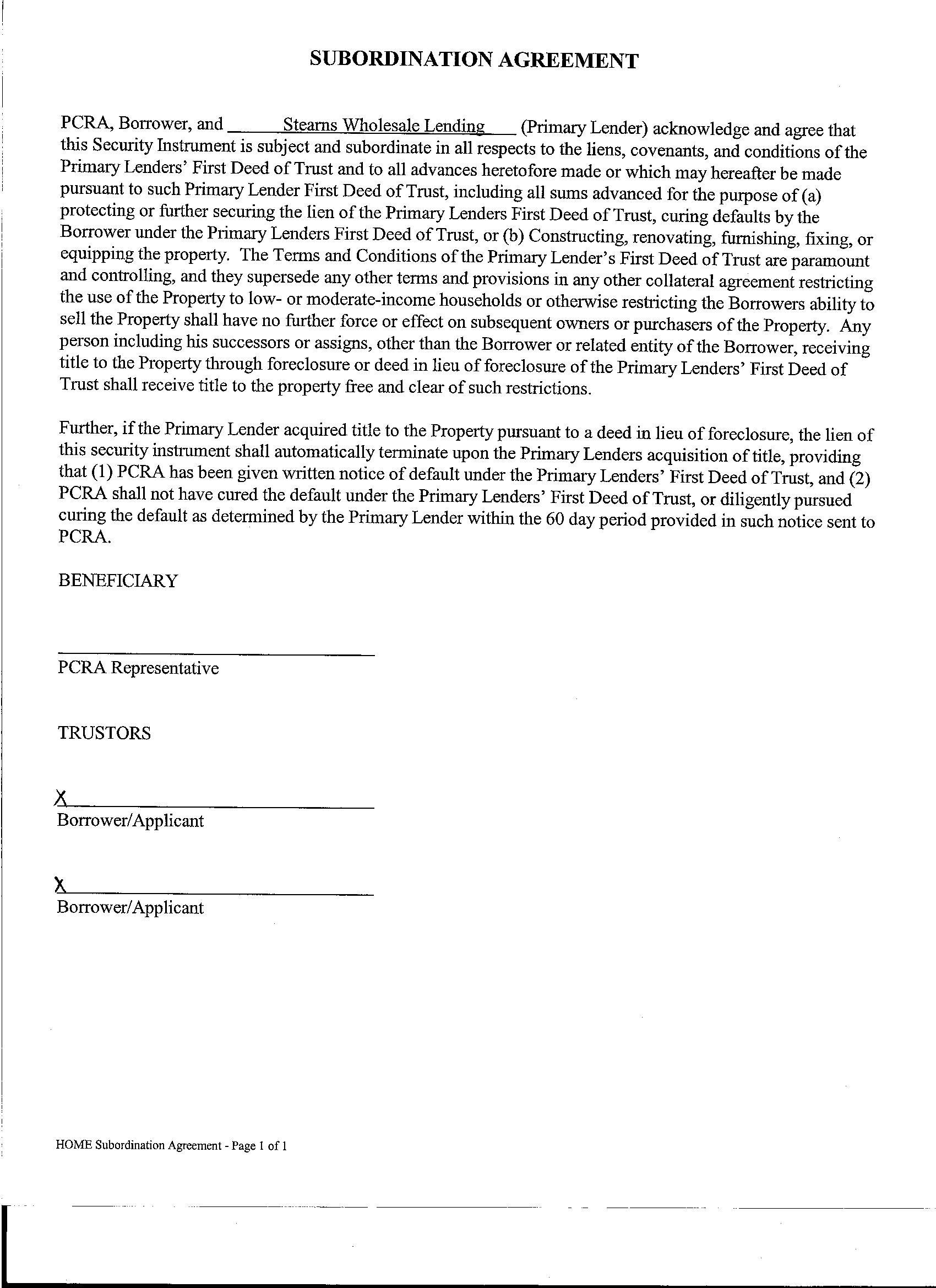Subordination Agreement Template sample cash subordinated loan – Subordination Agreement Template