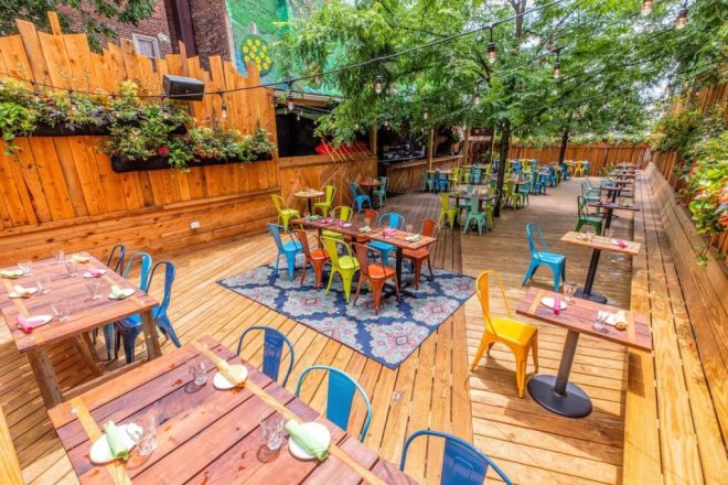 The outdoor seating area at Juno in Philadelphia