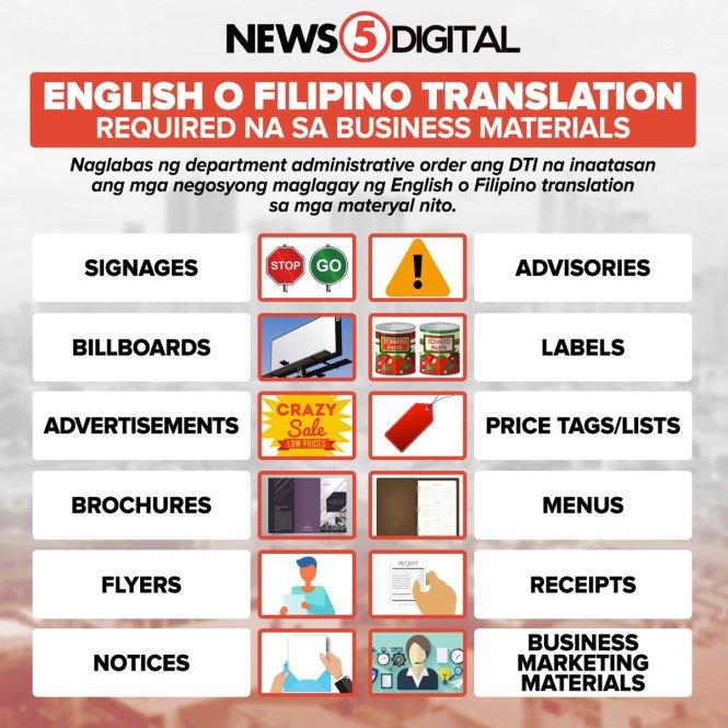 filipino translation for business