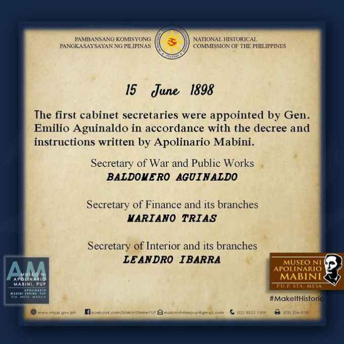 first cabinet secretaries appointed by emilio aguinaldo