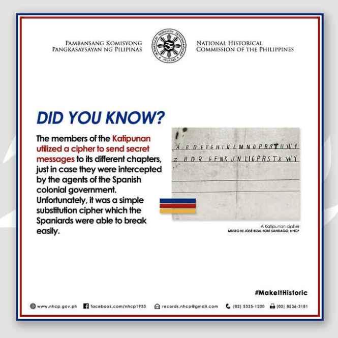 katipunan utilized a cipher to send secret messages