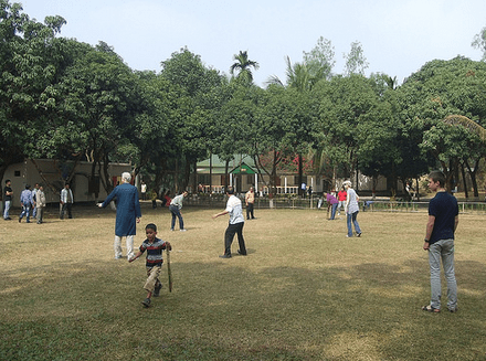 Cricket with the local staff