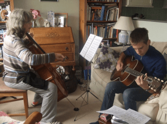 Me and Nonna playing a classical duet
