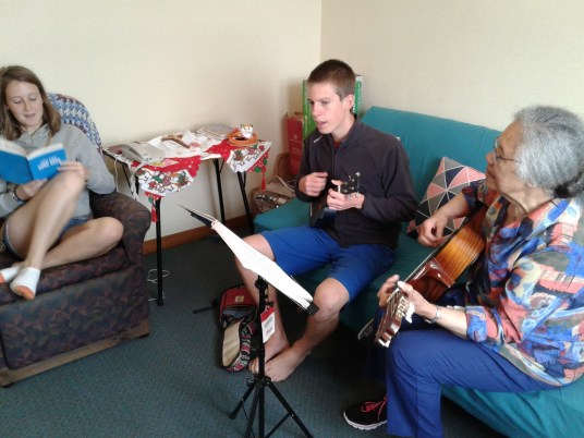 Playing Christmas carols with Sr. Cabrini