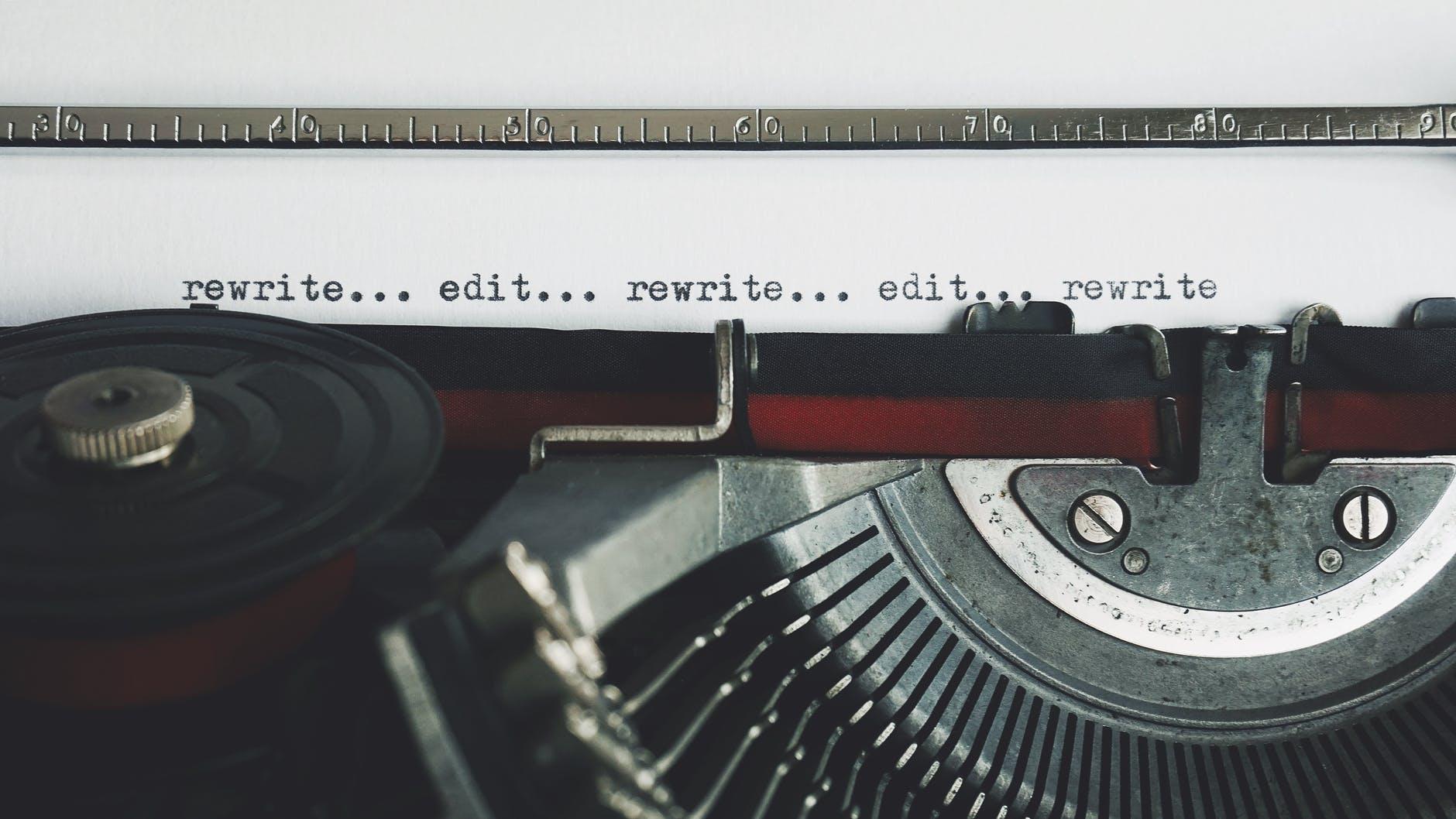 rewrite edit text on a typewriter