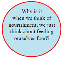 Why is it when we think of nourishment, we just think about feeding ourselves food?