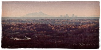 Winston-Salem and Pilot Mountain from Mt. Shephard zoomed in at 300 mm.