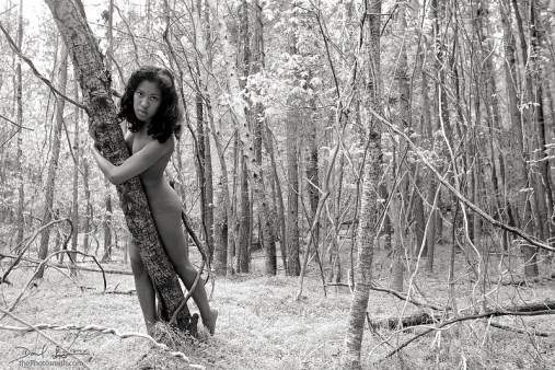 Kristen Surban, demure nude, black and white