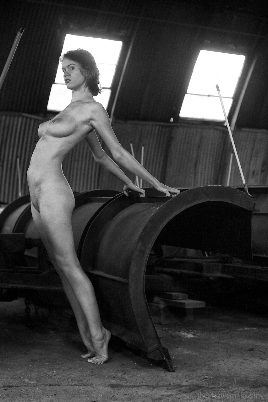 black and white nude figure of a woman and a snowplow by ThePhotosmith
