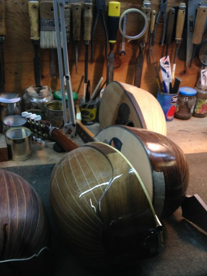 Mandolins - almost finished - in the 'Bottega del Mandolino' in Naples, Italy