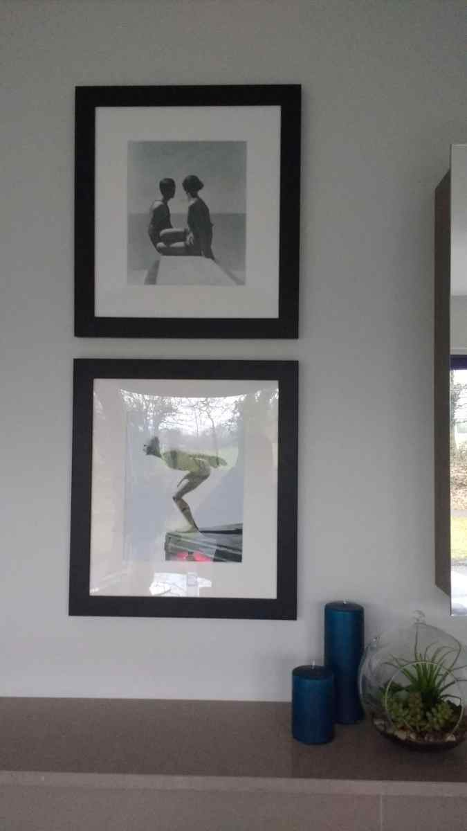 Pictures installed along with various other items in a care home showroom in Surrey. Interior design by Grove Interiors.
