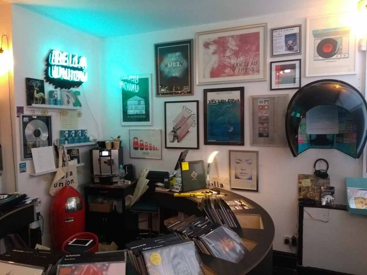 Eclectic collage wall for Bella Union Vinyl Shop in Brighton