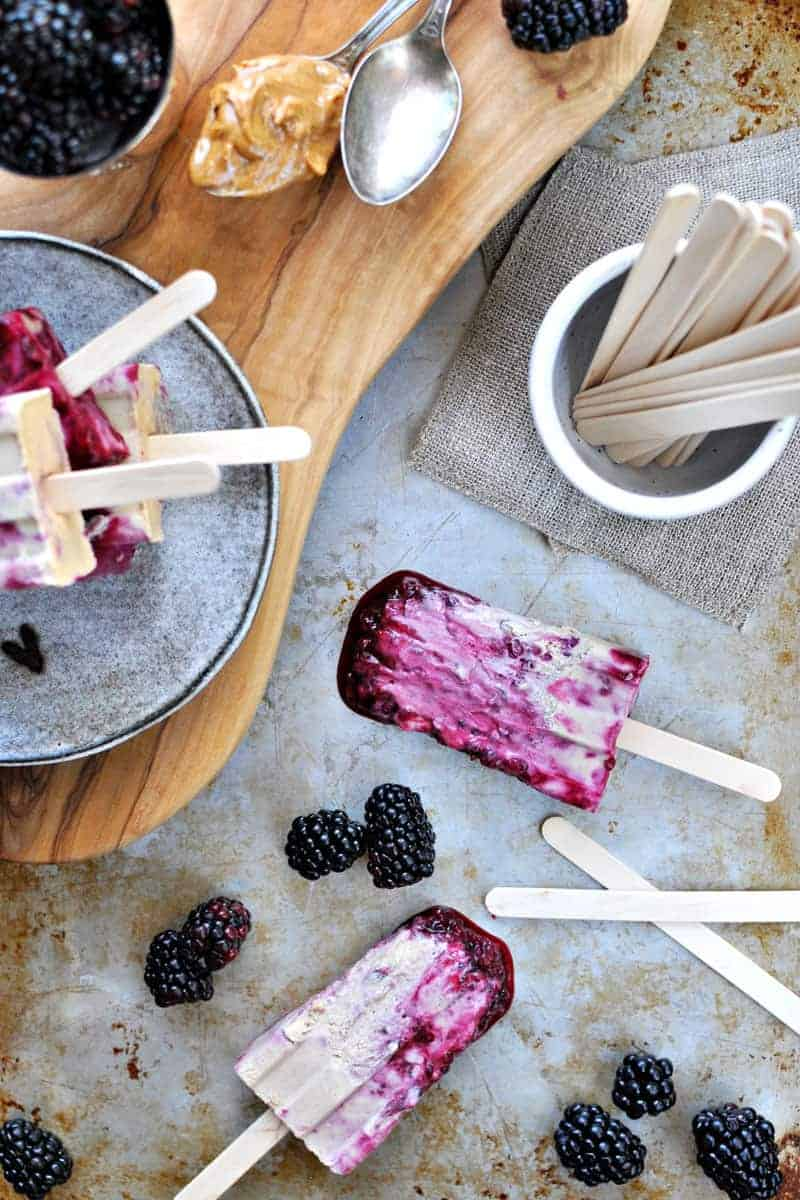 vegan peanut butter + jelly popsicles (or ice cream) via www.thepigandquill.com   #popsicleweek #summer #recipe #vegan