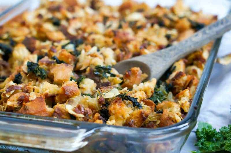 Sourdough Stuffing with Kale, Almonds + Grand Marnier Apricots recipe (via thepigandquill.com) #thanksgiving #vegetarian #vegan