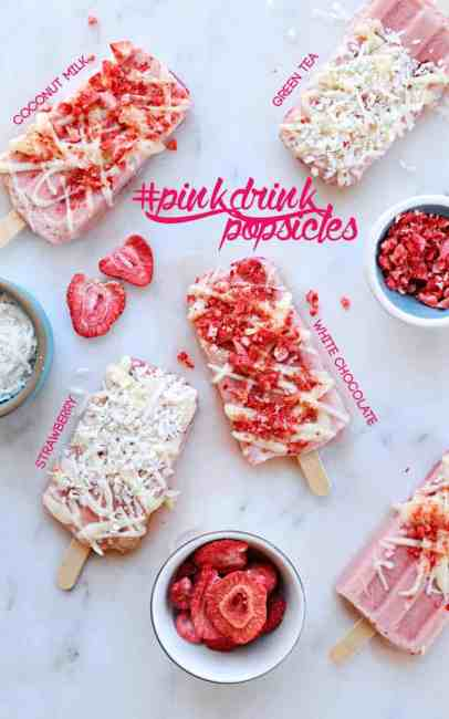 #PinkDrink Popsicles for #popsicleweek! // strawberry + green tea + coconut milk + white chocolate (via thepigandquill.com)