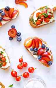 Whipped Ricotta Toast Two Ways recipe: Tomatoes, Basil Oil, Sea Salt // Summer Fruit, Honey, Black Pepper (via thepigandquill.com) #breakfast #brunch #summer #vegetarian