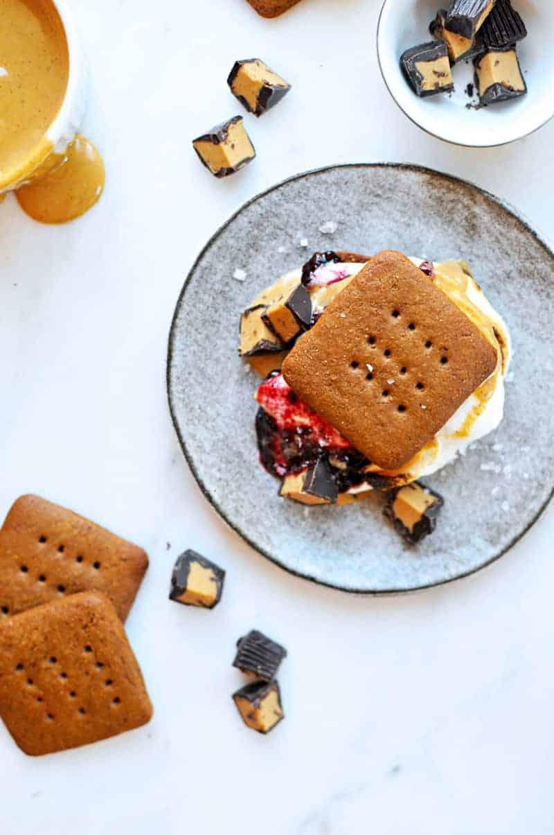Double PB+J S'mores recipe with Homemade Graham Crackers (via thepigandquill.com) #sweets #dessert #baking #summer