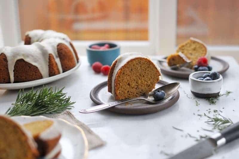 Rosemary Olive Oil Cake with Meyer Lemon Glaze (Gluten-Free) (via thepigandquill.com) #baking #sweets #bundt