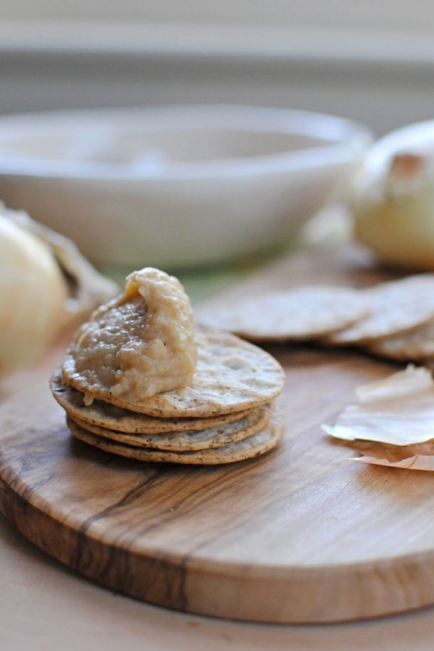 (Almost Vegan) Caramelized Onion White Bean Dip -- with vegan variation   the pig & quill
