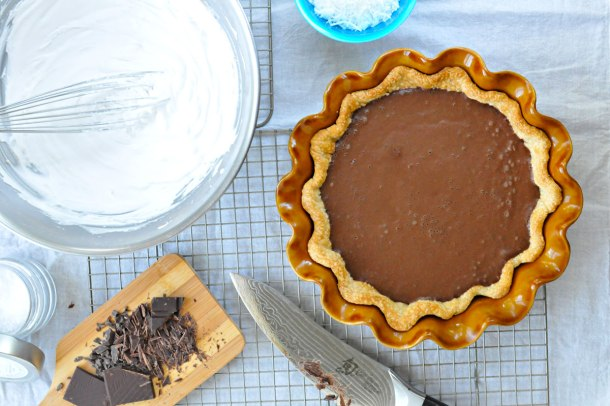 Salted Chocolate Creme Pie with (Vegan) Coconut Whip   the pig & quill