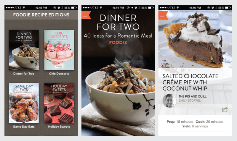 """Foodie.com Recipe App - 40 """"Dinner for Two"""" Recipes plus dozens of other collections. Free in the App Store!   the pig & quill"""