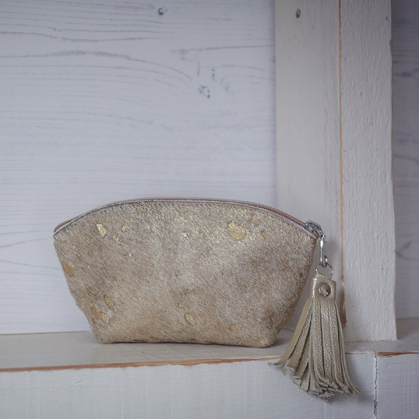 BoHo Leather Bag Gold Fleck