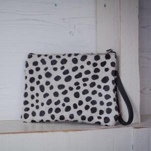 Minnie Clutch Bag Leather Black Spotty