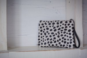 Minnie Clutch Bag Leather Black Spotty