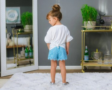 kids blue lace shorts