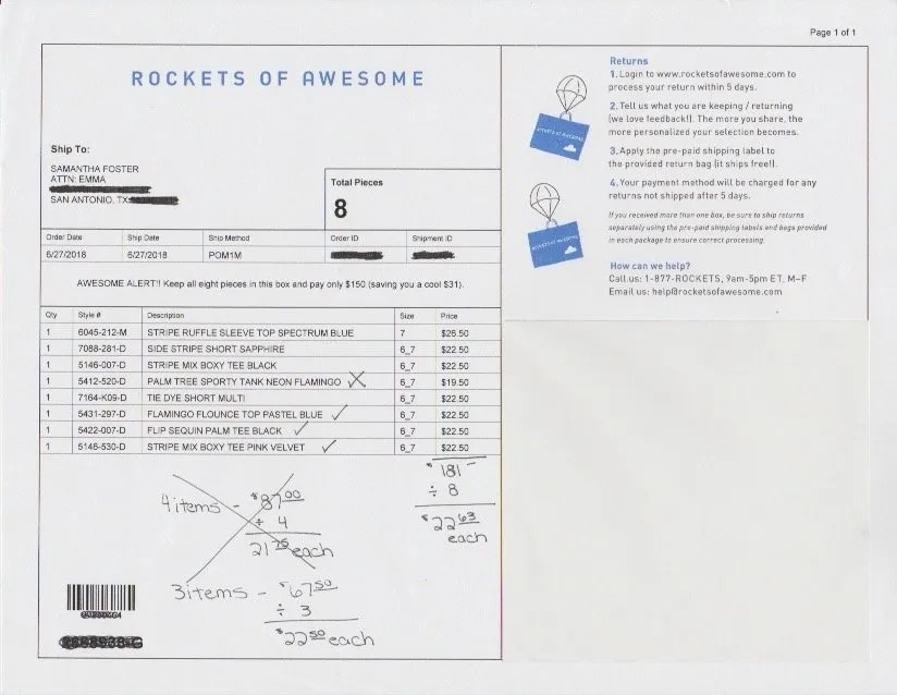 Rockets of Awesome Invoice